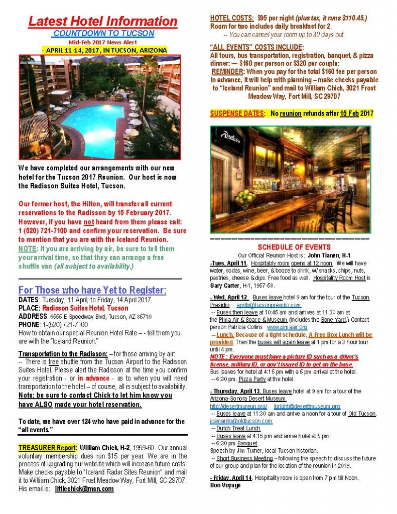 WEBSITE EMAIL NEWS RELEASE, Mid-Feb 2017 - CORRECTED New Hotel info - to Chick